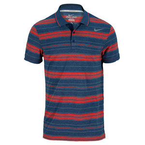 NIKE MENS VAPOR TOUCH STRIPE POLO NAVY/RED