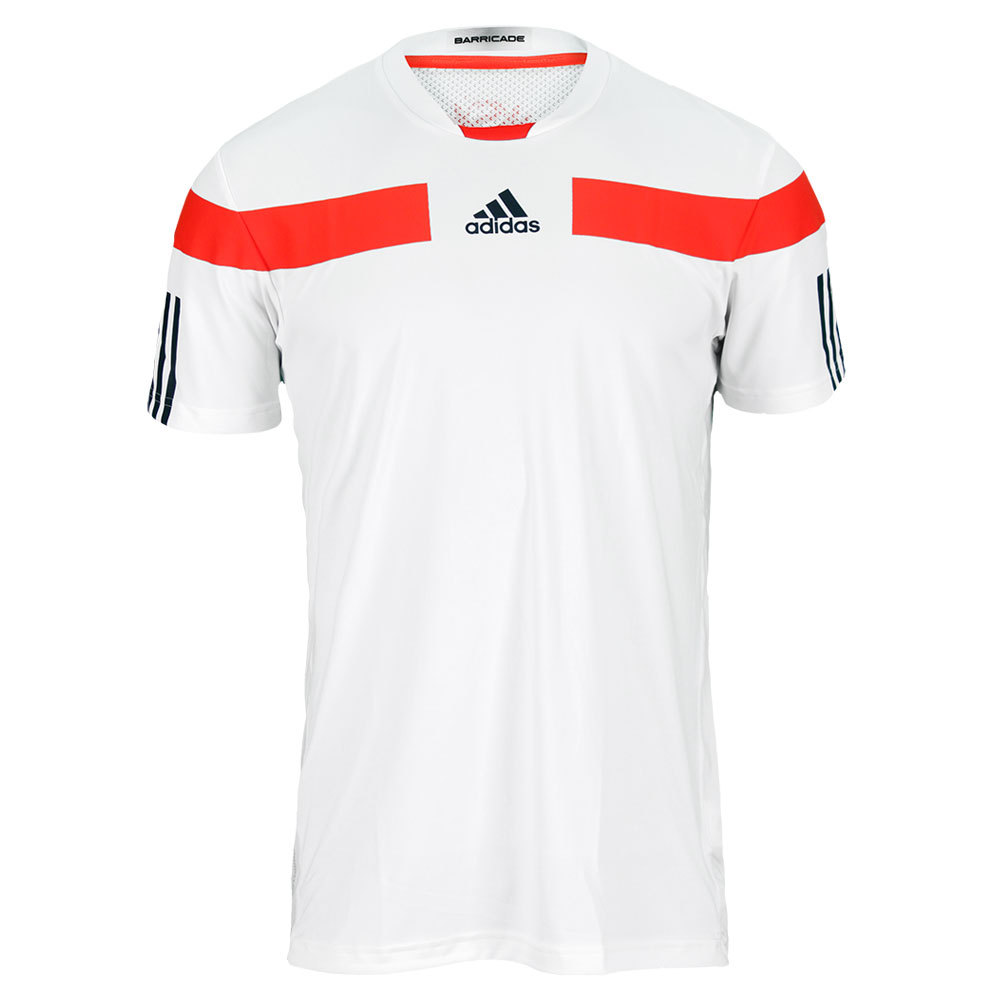 Men's Barricade Shanghai Tennis Crew Tee White/Hi- Res Red