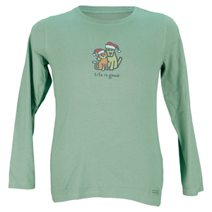 LIFE IS GOOD GIRLS HOLIDAY HUG LONG SLEEVE TEE GREEN