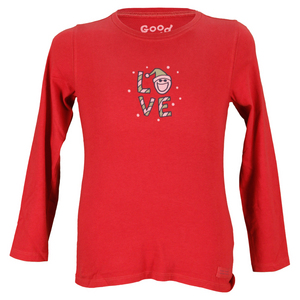 LIFE IS GOOD GIRLS HOLIDAY LOVE LONG SLEEVE TEE RED