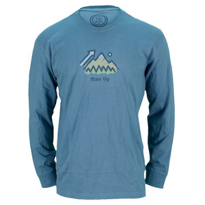 LIFE IS GOOD MENS MAN UP LONG SLEEVE CRUSHER TEE BLUE