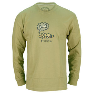 LIFE IS GOOD MENS DREAM BIG LONG SLEEVE TEE GREEN