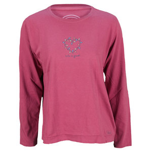 LIFE IS GOOD WOMENS HOLIDAY LIGHTS LG SLV TEE PLUM