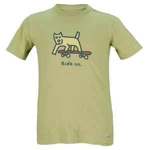 LIFE IS GOOD BOYS ROCKET BOARD CRUSHER TEE GREEN