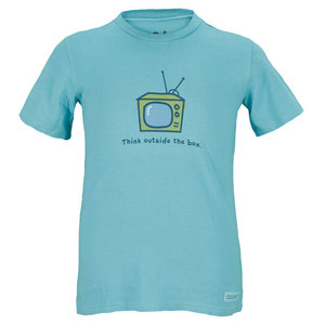 LIFE IS GOOD BOYS THINK OUTSIDE THE BOX TEE TURQUOISE