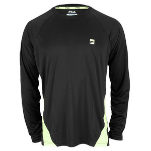 FILA MENS CENTER COURT LONG SLEEVE CREW BLACK