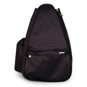 LIFE IS TENNIS BLACK DOT SMALL SLING BAG W/CONV STRAP