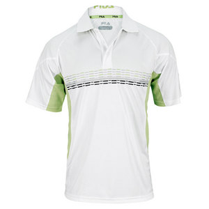 FILA MENS CENTER COURT PRINTED TENNIS POLO WH