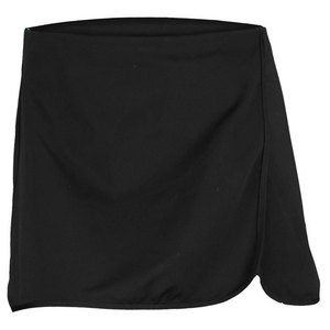 VICKIE BROWN WOMENS CURVED TENNIS WRAP SKORT BLACK