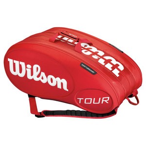 WILSON TOUR 15 PACK TENNIS BAG RED MOLDED