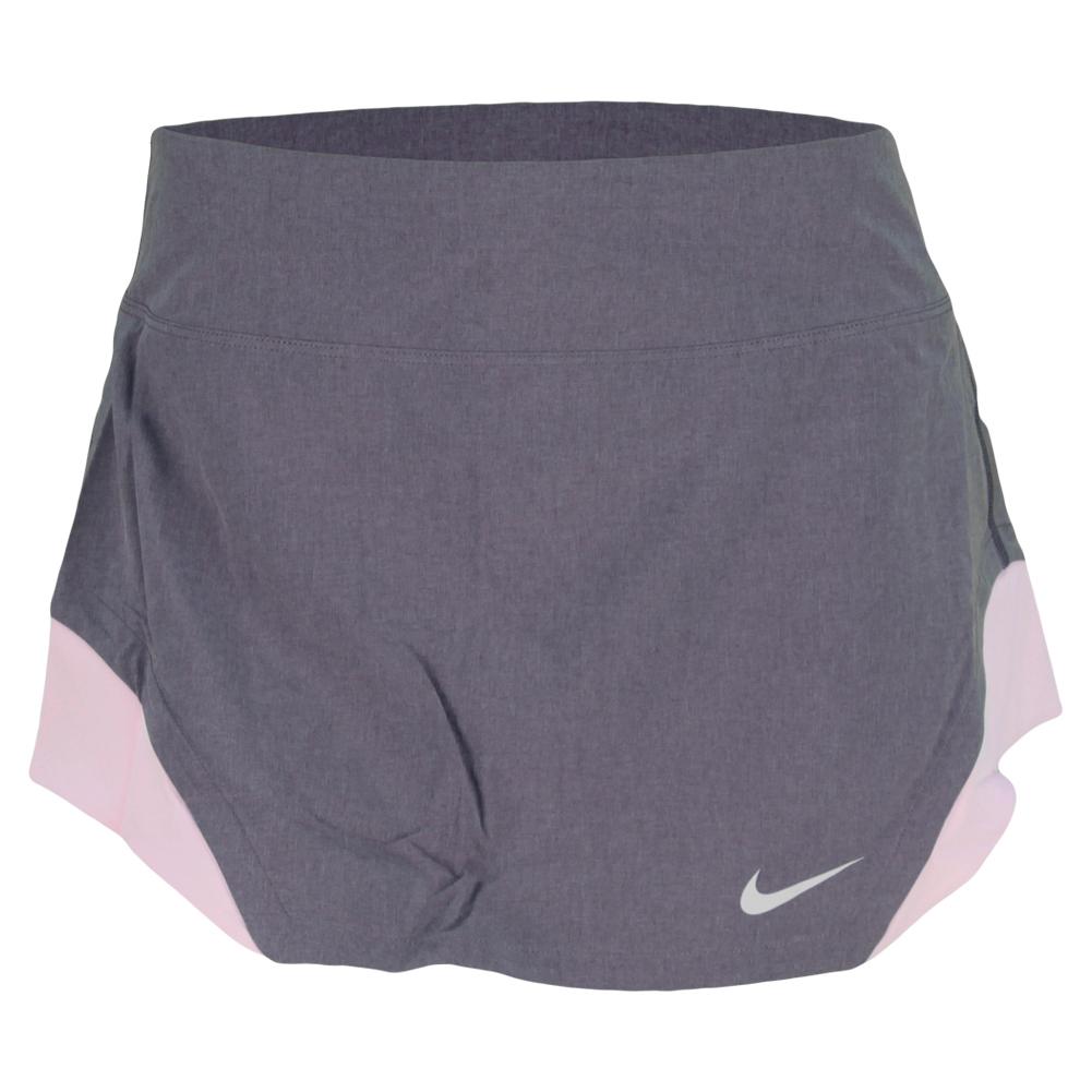 Women's Dri Fit Heathered Woven Tennis Skirt Purple