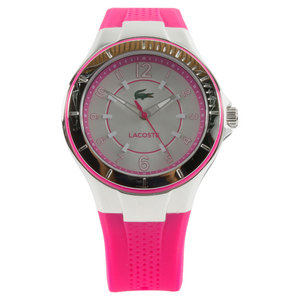 LACOSTE WOMENS ACAPULCO WATCH SILVER AND PINK