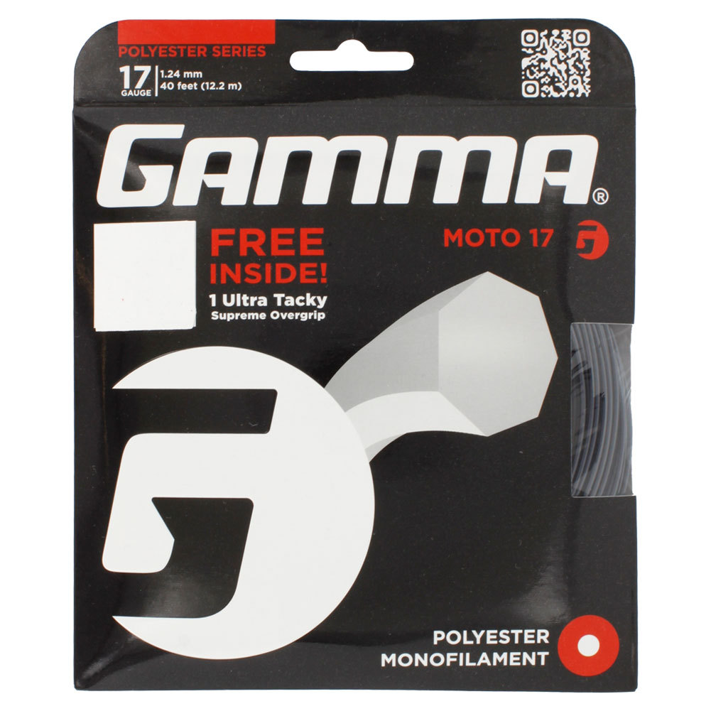Moto 17g With Grip Tennis String Black