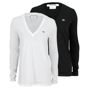 LACOSTE WOMENS LONG SLEEVE V NECK TENNIS TEE