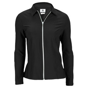 ELIZA AUDLEY WOMENS PEPLUM TENNIS JACKET BLACK