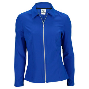 ELIZA AUDLEY WOMENS PEPLUM TENNIS JACKET ROYAL