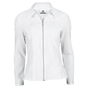 ELIZA AUDLEY WOMENS PEPLUM TENNIS JACKET WHITE