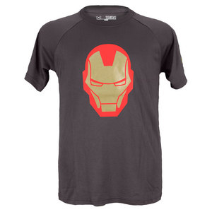 UNDER ARMOUR BOYS IRON MAN HELMET SS TEE CHARCOAL