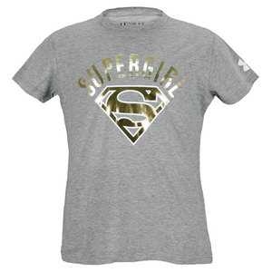 UNDER ARMOUR GIRLS SUPERGIRL FOIL TEE GRAY HEATHER