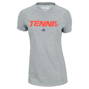 adidas WOMENS TENNIS TEE MEDIUM GRAY HEATHER