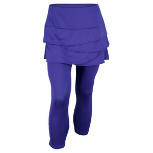 LUCKY IN LOVE WOMENS SCALLOP TENNIS CAPRI COBALT BLUE