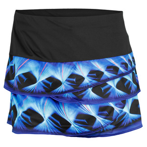 LUCKY IN LOVE WOMENS LUNAR SCALLOP TENNIS SKIRT BLACK