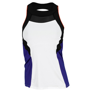 LUCKY IN LOVE WOMENS HIGH NECK COLOR BLOCK TANK BL/WH