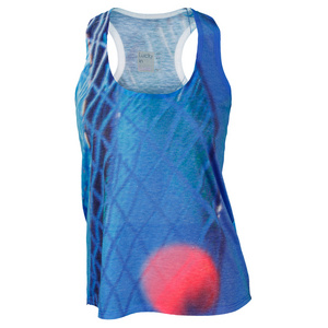 LUCKY IN LOVE WOMENS 3D RACQUET TENNIS TANK BLUE