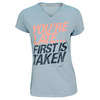 NIKE Women`s You`re Late Short Sleeve V Neck Running Tee Light Armory Blue