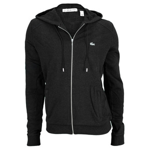 LACOSTE WOMENS LONG SLEEVE ZIP HOODIE BLACK