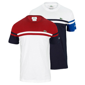 LACOSTE MENS SHORT SLV CHEST STRIPE TENNIS TEE