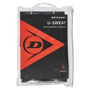 DUNLOP U SWEAT 12 PACK TENNIS OVERGRIP BLACK