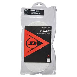 DUNLOP U SWEAT 30 PACK TENNIS OVERGRIP WHITE