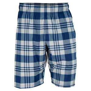 NIKE MENS GLADIATOR 10 INCH PLAID SHORT NAVY