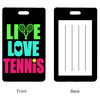 4 WOODEN SHOES Live Love Tennis Rectangle Bag Tag