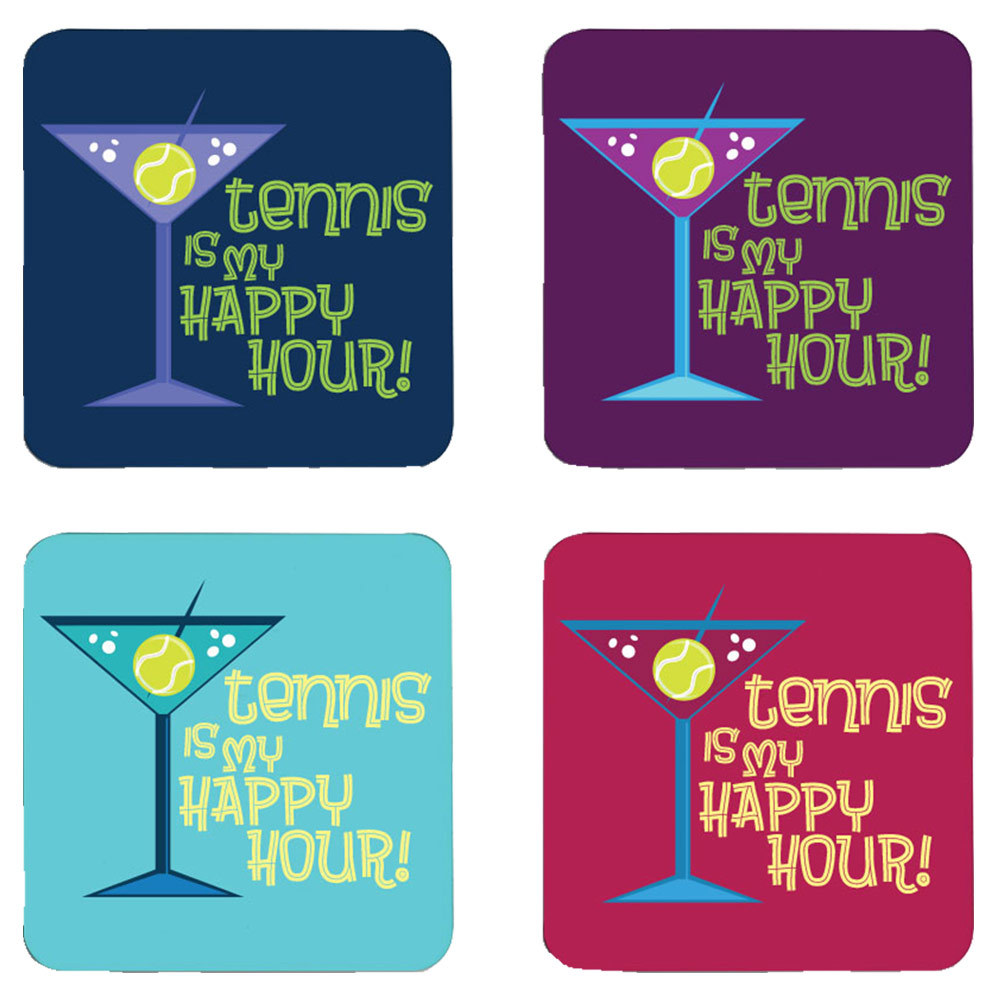 Tennis Is My Happy Hour Coasters 4 Pack