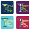4 WOODEN SHOES Tennis is my Happy Hour Coasters 4 Pack