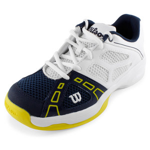 WILSON JUNIORS RUSH PRO 2 TENNIS SHOES WH/NAVY