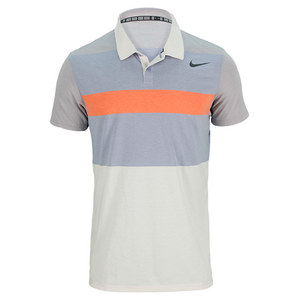 NIKE MENS DRI FIT TOUCH STRIPE POLO BIRCH/ORG