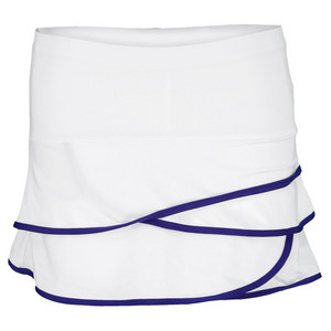 LUCKY IN LOVE GIRLS SCALLOP BORDER TENNIS SKIRT WH/BL