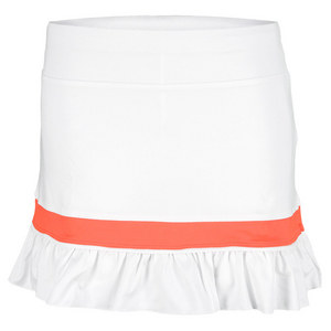 LITTLE MISS TENNIS GIRLS RUFFLED TENNIS SKORT WHITE/CORAL