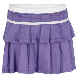 LITTLE MISS TENNIS GIRLS PLEATED TENNIS SKORT PURPLE/WH TRM