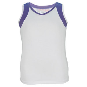LITTLE MISS TENNIS GIRLS TENNIS TANK WHITE/PURPLE TRIM