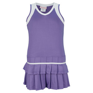 LITTLE MISS TENNIS GIRLS PLEATED TENNIS DRESS PURPLE/WHITE