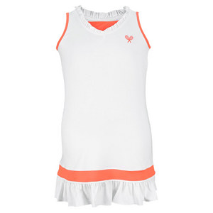 LITTLE MISS TENNIS GIRLS RUFFLED TENNIS DRESS WHITE/CORAL