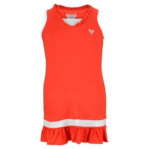 LITTLE MISS TENNIS GIRLS RUFFLED TENNIS DRESS NEON CORAL