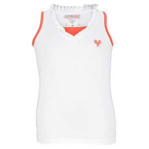 LITTLE MISS TENNIS GIRLS TENNIS TANK WHITE/NEON CORAL TRIM