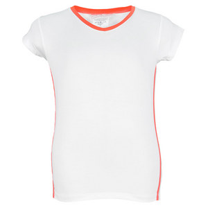 LITTLE MISS TENNIS GIRLS CAP SLEEVE TENNIS TOP WHITE/CORAL