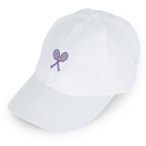 LITTLE MISS TENNIS GIRLS WHITE CAP W/ PURPLE RACQUETS
