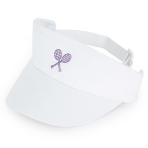 LITTLE MISS TENNIS GIRLS WHITE VISOR W/ PURPLE RACQUETS